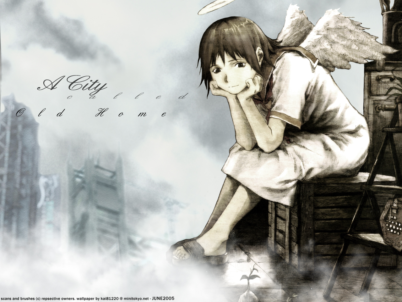 Haibane Renmei Wallpaper Haibanea City Called Old Home