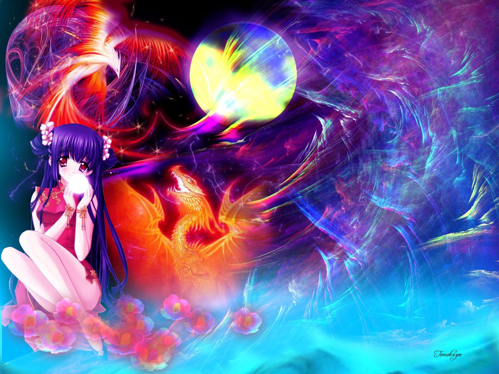 Kao no Nai Tsuki Wallpaper: Dragon and Phoenix - Minitokyo