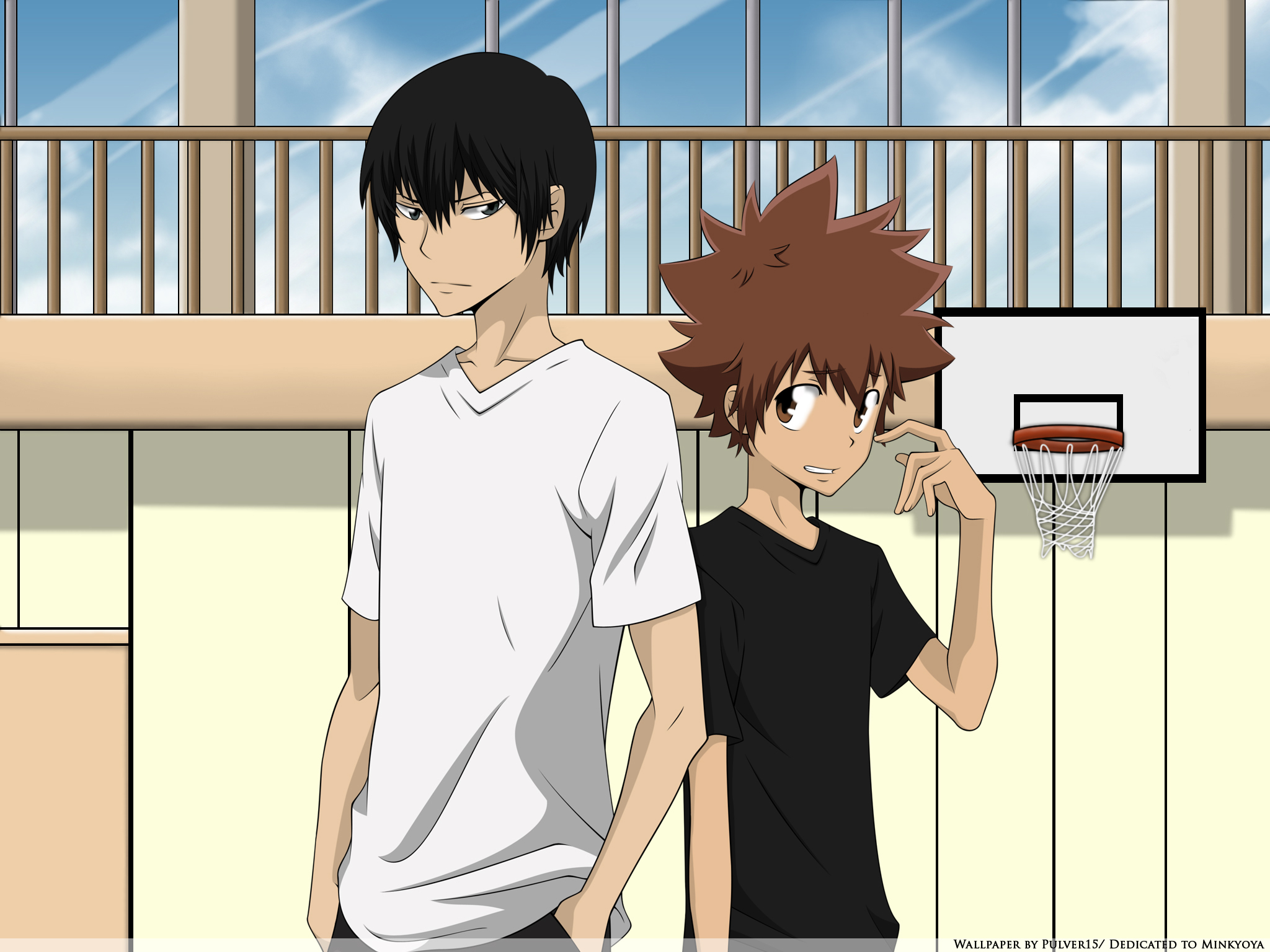 Katekyo Hitman Reborn Wallpaper Hibari Tsuna In The Gym
