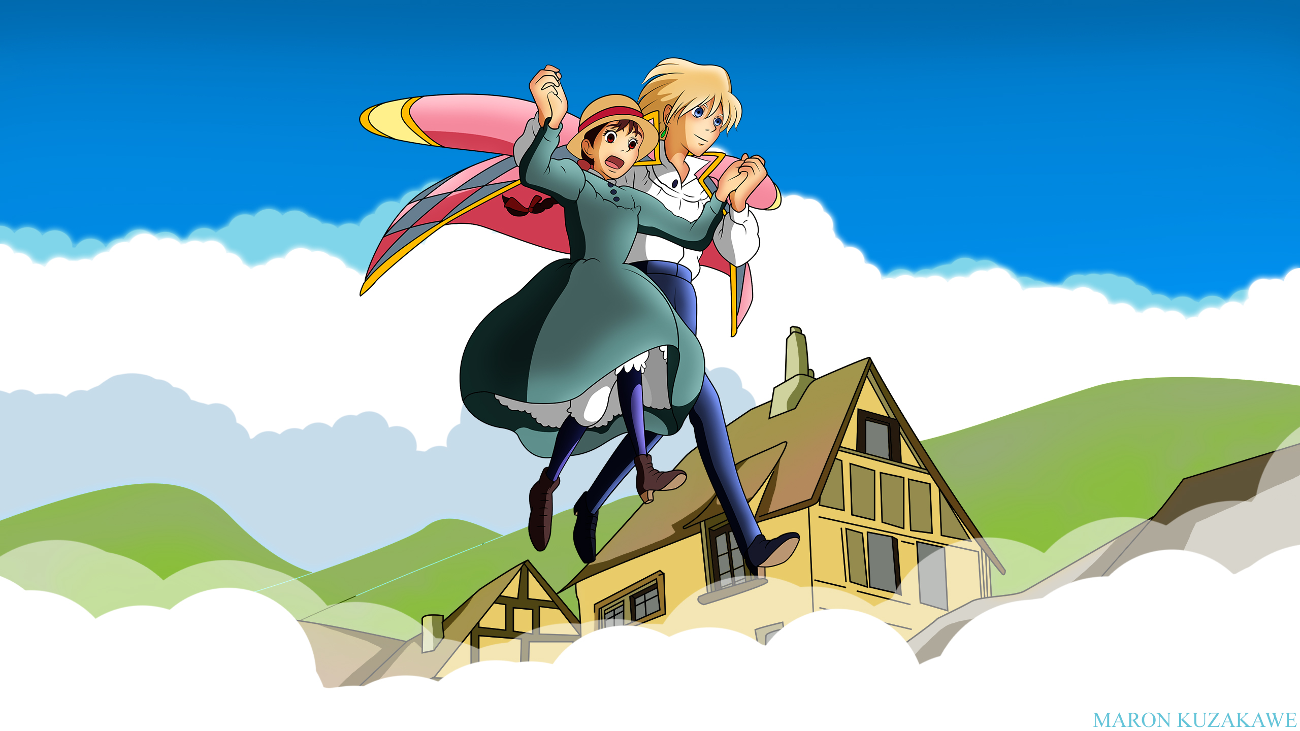 Howl's Moving Castle Wallpaper: Howls step in the air ...