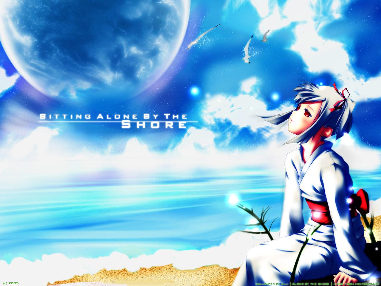 Anime Wallpaper: -::Alone by the shore::- - Minitokyo