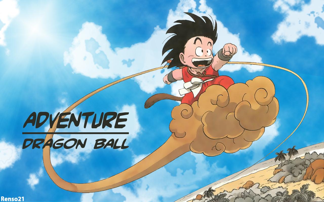 Kid Goku On Nimbus Wallpaper