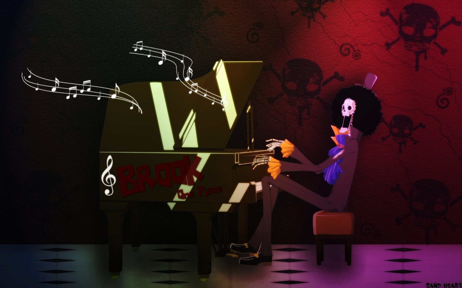 One Piece Wallpaper Brook Playing Piano Minitokyo