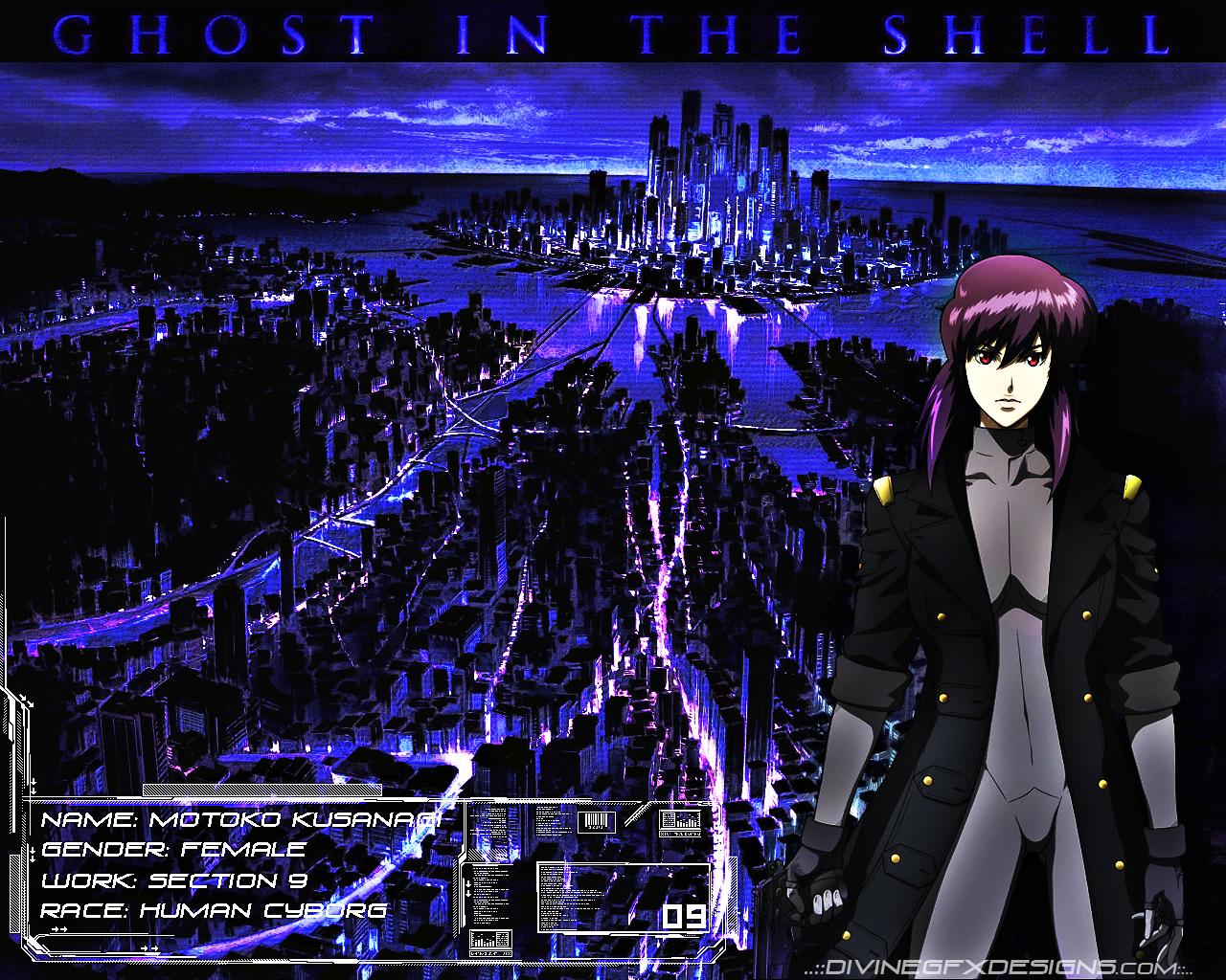 Ghost In The Shell Wallpaper Motoko City Scape Minitokyo